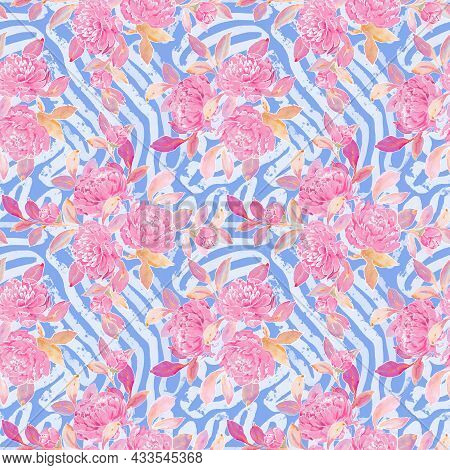 Illustration Of A Seamless Floral Pattern With Peony And Abstract Blue Background. Hand Drawn Backgr
