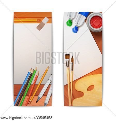 Drawing Banners Vertical Set With Painter Tools And Paper On Wooden Background Isolated Vector Illus