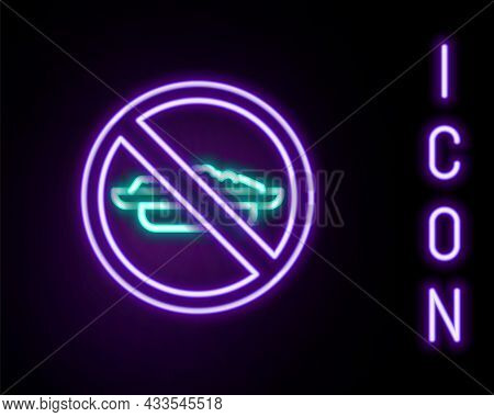 Glowing Neon Line Food No Diet Icon Isolated On Black Background. Healing Hunger. Colorful Outline C