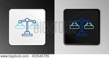 Line Scales Of Justice Icon Isolated On Grey Background. Court Of Law Symbol. Balance Scale Sign. Co