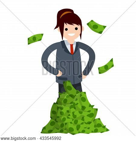Woman And Heap Of Money. Pile Of Green Banknotes.