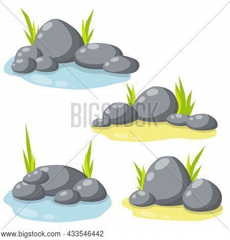 Set Of Stones For The Background. Forest And Mountain Environment. Gray Cobblestone With Moss And Gr