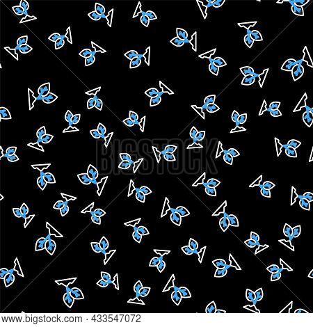 Line Plant Icon Isolated Seamless Pattern On Black Background. Seed And Seedling. Leaves Sign. Leaf