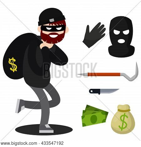 Thief With Knife. Robber In Black Cloth. Set Of Tools For Crime. Pinch Bar, Crowbar, Glove. Funny Gu