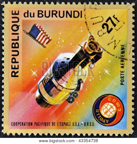 A stamp printed in Burundi shows Apollo 11