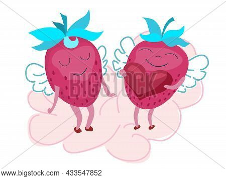 Cute Hand-drawn Characters Of Strawberries. Strawberry With Wings And Heart. Loving Couple Of Strawb