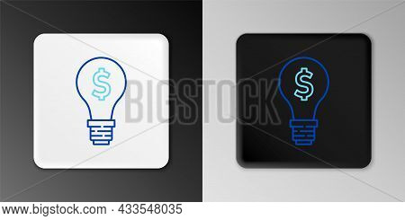 Line Light Bulb With Dollar Symbol Icon Isolated On Grey Background. Money Making Ideas. Fintech Inn