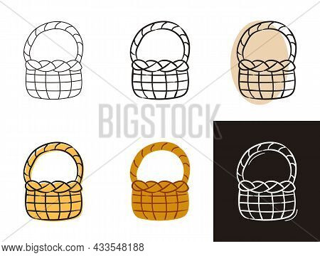 Basket Icons Set Isolated On White Background. Wicker Pottle Isolated. Hand-drawn Contour Icon In Do