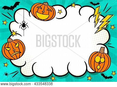 Comic Halloween Frame With Pumpkins, Stars And Lightning. Bright Template With Hanging Spider, Bats
