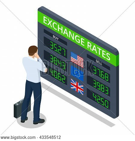 Isometric Bank Information Board With Different Flags And Currency For Buy Or Sell. Foreign Currency