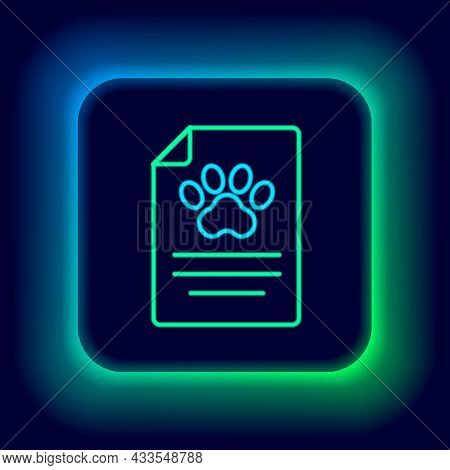 Glowing Neon Line Clipboard With Medical Clinical Record Pet Icon Isolated On Black Background. Heal
