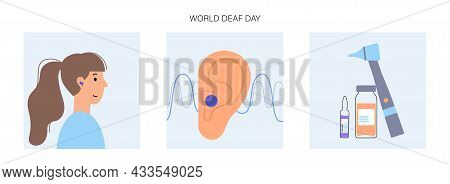 World Deaf Day. Human Hearing Aid. Woman Character Happy To Hear With Hearing Device. Ear Sound Rece
