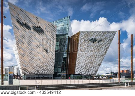 Belfast, Uk, Aug 2019 Rear View On Majestic Building Of Titanic Museum, Located In The Citys Titanic