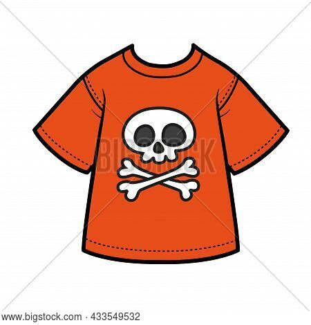 Red T-shirt For A Boy With Cartoon Jolly Roger Emblem Color Variation For Coloring On A White Backgr