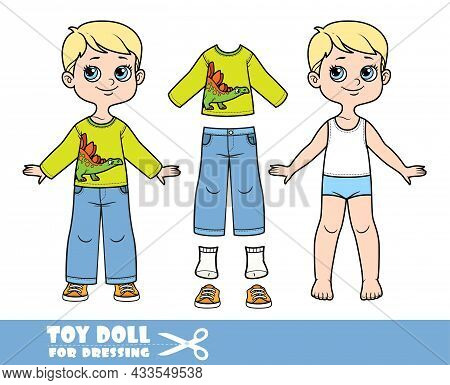 Cartoon Boy With Blond Hair Dressed And Clothes Separately - Dinosaur Print Long Sleeve T-shirt, Jea