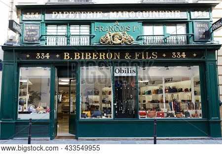 Paris, France-september 18 , 2021 : The Vintage Facade Of Ancient Boutique Located At Saint Honore S