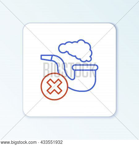 Line Smoking Pipe With Smoke Icon Isolated On White Background. Tobacco Pipe. Colorful Outline Conce