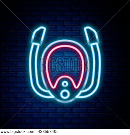 Glowing Neon Line Diving Mask With Snorkel Icon Isolated On Brick Wall Background. Extreme Sport. Di