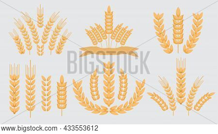 Collection Wheat Ears Icons And Logo  Icon Set, Cereals Sketch.  Organic Wheat, Agricultural Bread A
