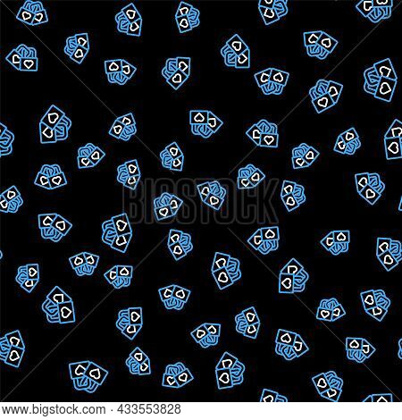 Line Lock With Heart Icon Isolated Seamless Pattern On Black Background. Locked Heart. Love Symbol A