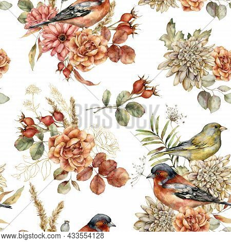 Watercolor Autumn Seamless Pattern Of Aster, Dahlia, Rose And Birds. Hand Painted Flowers, Chaffinch