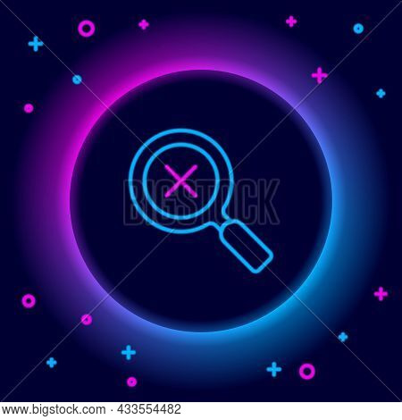Glowing Neon Line Magnifying Glass And Delete Icon Isolated On Black Background. Search, Focus, Zoom