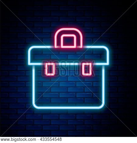 Glowing Neon Line Briefcase Icon Isolated On Brick Wall Background. Business Case Sign. Business Por