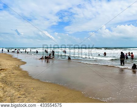 January 2020 : People Enjoying Beach Life Of Chennai India