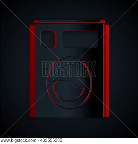 Paper Cut Washer Icon Isolated On Black Background. Washing Machine Icon. Clothes Washer - Laundry M