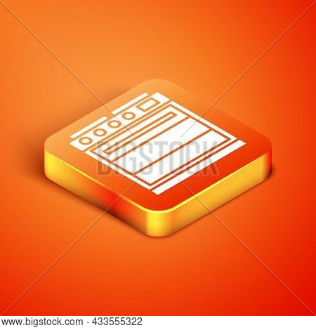 Isometric Oven Icon Isolated On Orange Background. Stove Gas Oven Sign. Vector Illustration