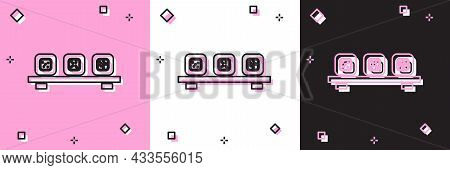 Set Sushi On Cutting Board Icon Isolated On Pink And White, Black Background. Asian Food Sushi On Wo