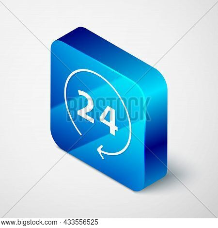 Isometric Clock 24 Hours Icon Isolated On Grey Background. All Day Cyclic Icon. 24 Hours Service Sym