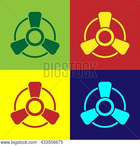 Pop Art Car Motor Ventilator Icon Isolated On Color Background. Vector