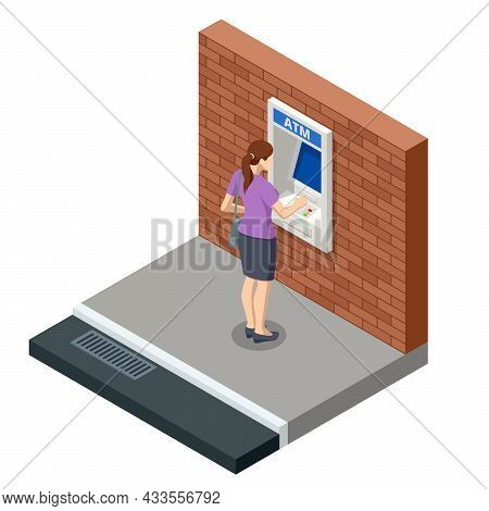 Isometric Woman Waiting For The Credit Card Inserting From Atm Machine. Atm Service Machine Of A Ban