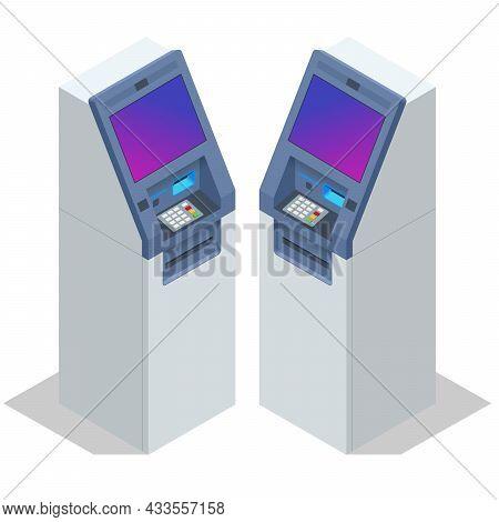 Isometric Atm Service Machine Of A Bank. Automated Teller Machine. Cash Machine.