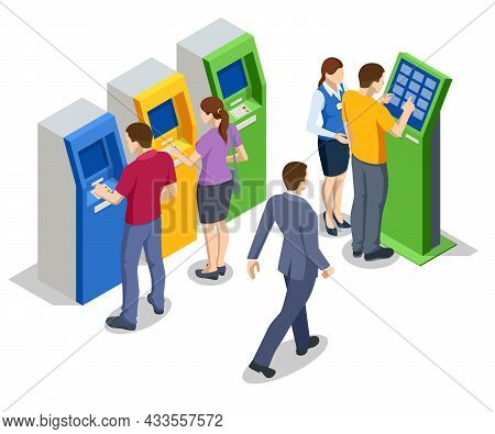 Isometric People Waiting For The Credit Card Inserting From Atm Machine. Atm Service Machine Of A Ba