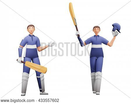 3D Render Of Batsman Players In Two Poses On White Background.
