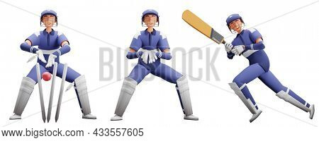 3D Rendering Of Batsman And Wicket Keeper Players In Playing Pose.