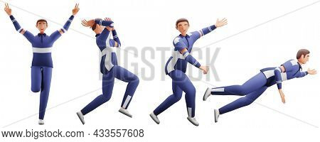 3D Render Of Cricket Player Characters In Different Poses.