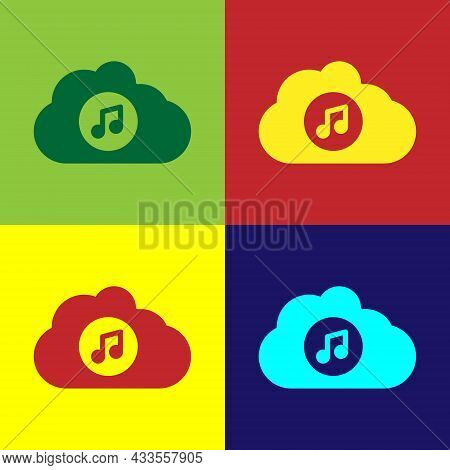 Pop Art Music Streaming Service Icon Isolated On Color Background. Sound Cloud Computing, Online Med