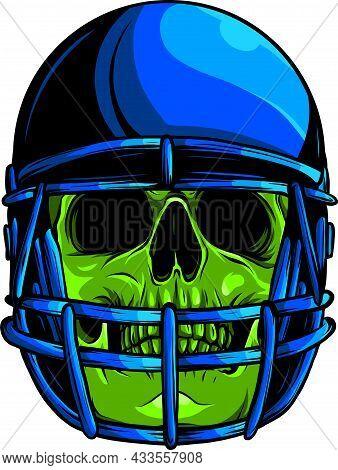 Vector Illustration Of Football Player Skull Design