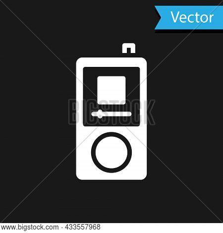 White Music Player Icon Isolated On Black Background. Portable Music Device. Vector