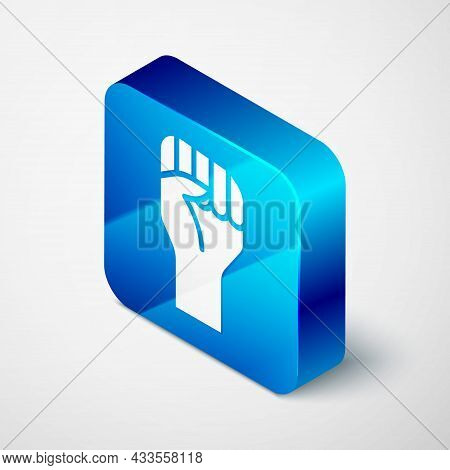 Isometric Raised Hand With Clenched Fist Icon Isolated On Grey Background. Protester Raised Fist At