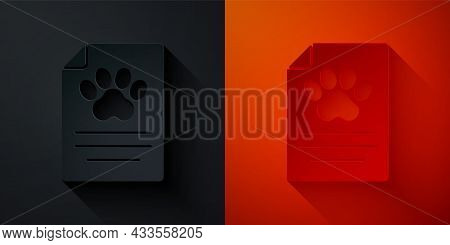 Paper Cut Clipboard With Medical Clinical Record Pet Icon Isolated On Black And Red Background. Heal
