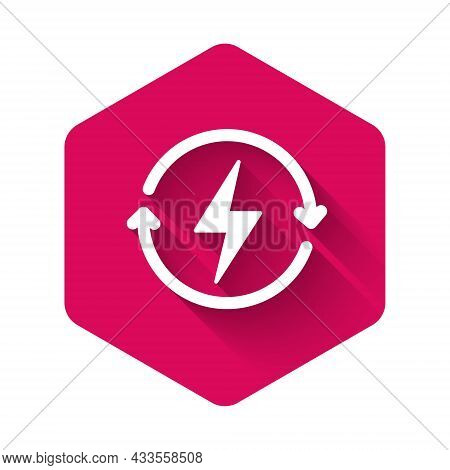White Recharging Icon Isolated With Long Shadow Background. Electric Energy Sign. Pink Hexagon Butto