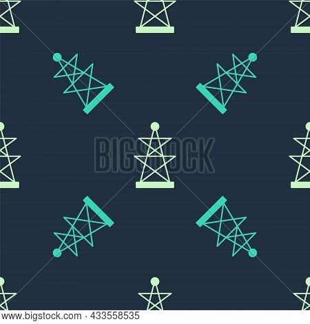 Green And Beige Electric Tower Used To Support An Overhead Power Line Icon Isolated Seamless Pattern