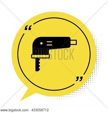 Black Electric Jigsaw With Steel Sharp Blade Icon Isolated On White Background. Power Tool For Woodw