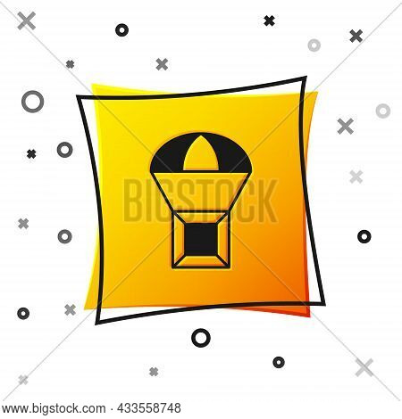 Black Box Flying On Parachute Icon Isolated On White Background. Parcel With Parachute For Shipping.