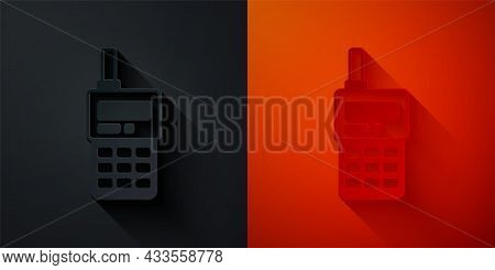 Paper Cut Walkie Talkie Icon Isolated On Black And Red Background. Portable Radio Transmitter Icon.