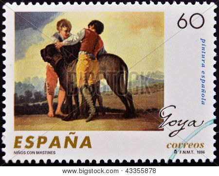 stamp printed in Spain shows Children with hounds by Francisco de Goya